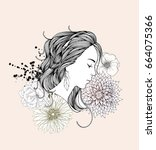 beautiful woman with abstract... | Shutterstock .eps vector #664075366