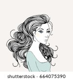 beautiful woman with abstract... | Shutterstock .eps vector #664075390