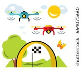 quadrocopter racing competition ...   Shutterstock . vector #664075660