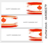 header or banner of canada day. | Shutterstock .eps vector #664080379