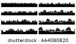 forest trees silhouettes... | Shutterstock . vector #664080820