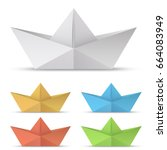 folded paper boat vector set... | Shutterstock .eps vector #664083949