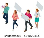 protest isometric people with... | Shutterstock .eps vector #664090516