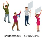 protest isometric people with... | Shutterstock .eps vector #664090543