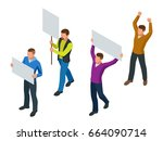 protest isometric people with... | Shutterstock .eps vector #664090714