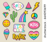 set of fashion patches  cute... | Shutterstock .eps vector #664093699