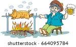 pig roasting over a fire.   Shutterstock .eps vector #664095784