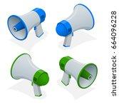 isometric set of megaphone ... | Shutterstock .eps vector #664096228