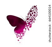 butterfly from hearts. vector | Shutterstock .eps vector #664100014
