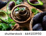 avocado chocolate mousse | Shutterstock . vector #664103950