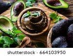 avocado chocolate mousse | Shutterstock . vector #664103950