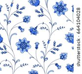 blue flowers on white... | Shutterstock .eps vector #664104028