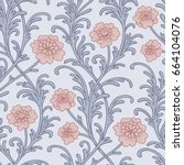 vintage seamless pattern.... | Shutterstock .eps vector #664104076