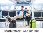 happiness asian couple traveler ... | Shutterstock . vector #664104700