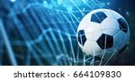 soccer ball in goal on blue... | Shutterstock . vector #664109830