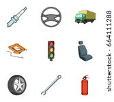 wheel  wrench  jack and other... | Shutterstock .eps vector #664111288