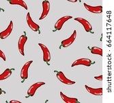 seamless pattern with red chili ... | Shutterstock .eps vector #664117648