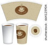 vector template paper cup for... | Shutterstock .eps vector #664125904