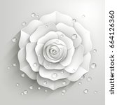 white paper rose with drops of... | Shutterstock .eps vector #664126360