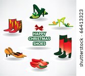 happy christmas shoes postcard | Shutterstock .eps vector #66413323