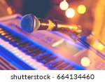 microphone and piano  keyboard... | Shutterstock . vector #664134460