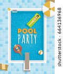 pool party template with girls... | Shutterstock .eps vector #664136968