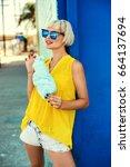 beautiful young woman walking...   Shutterstock . vector #664137694