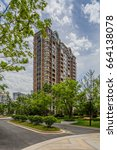high rise residential building. | Shutterstock . vector #664138078
