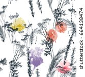 watercolor and graphics wilds... | Shutterstock . vector #664138474