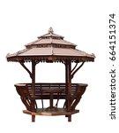wood pavilion thailand style...   Shutterstock . vector #664151374