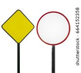 blank traffic sign isolated on... | Shutterstock . vector #664152358