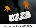 torn divorce paper with paper... | Shutterstock . vector #664152874