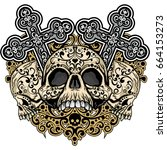 gothic coat of arms with skull  ... | Shutterstock .eps vector #664153273