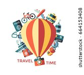digital vector travel icons set ... | Shutterstock .eps vector #664153408