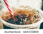 refreshing bubbly soda pop with ... | Shutterstock . vector #664153804