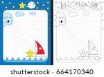 preschool worksheet for... | Shutterstock .eps vector #664170340