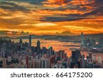 sunset with cityscape in hong... | Shutterstock . vector #664175200