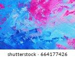 abstract oil paint texture on... | Shutterstock . vector #664177426