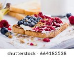 delicious breakfast 4th july... | Shutterstock . vector #664182538