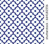 seamless porcelain indigo blue... | Shutterstock .eps vector #664182556