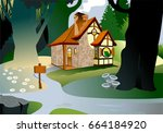little fairytale house with a... | Shutterstock .eps vector #664184920