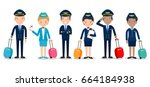 pilot and stewardess. set of... | Shutterstock .eps vector #664184938