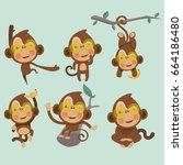 set of cute funny monkeys in a... | Shutterstock .eps vector #664186480