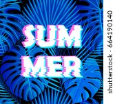 sign summer sale with distorted ... | Shutterstock .eps vector #664190140