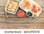 rolls  wasabi  soy sauce ...   Shutterstock . vector #664190578