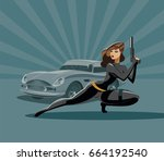 the woman super agent. in a... | Shutterstock .eps vector #664192540