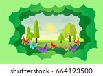 paper art of landscape with... | Shutterstock .eps vector #664193500