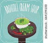 pot with hot cream broccoli... | Shutterstock .eps vector #664194100
