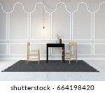 white kitcheng room interior.... | Shutterstock . vector #664198420