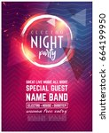 dance club night summer party... | Shutterstock .eps vector #664199950
